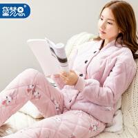 女士冬季珊瑚绒夹棉睡衣保暖秋冬天三层加厚加绒法兰绒家居服套装