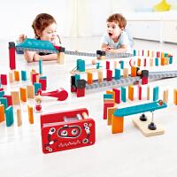 Hape儿童益智玩具机械多米诺发射器套4岁+