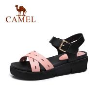 Camel/骆驼女鞋春夏新款休闲简约女凉鞋 露趾坡跟皮带扣凉鞋