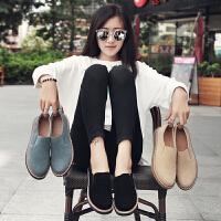 夏季流行时尚女鞋反绒皮牛筋底磨砂低跟套脚女鞋休闲低帮鞋