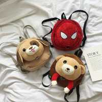 网红儿童双肩背包幼儿园毛绒卡通娃娃可爱小书包宝宝外出零食包包