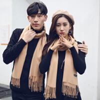 青年冬季新款情侣围巾女时尚百搭针织韩版男士围脖两面纯色毛线潮