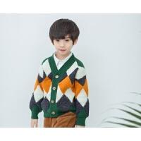 男童开衫毛衣秋季儿童兄妹装V领菱形针织外套洋