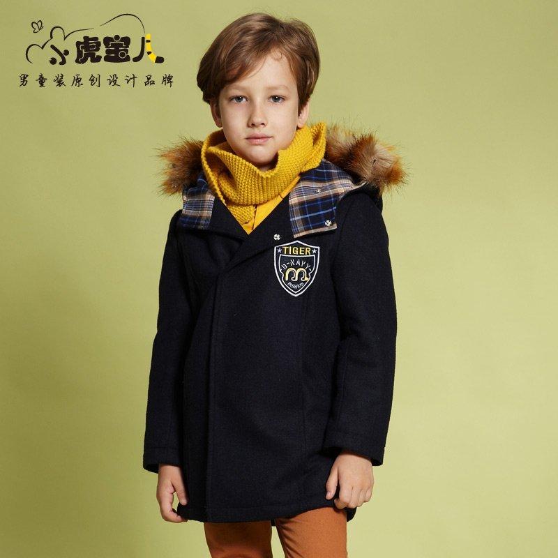 男童加厚毛呢外套 儿童呢子大衣中大童韩版上衣冬装童装小虎宝儿羊毛混纺 加绒保暖 连帽保暖