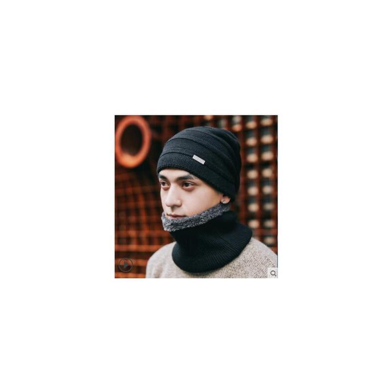 纯色套头毛线帽男士帽子骑车保暖护耳棉帽子韩版时尚休闲条纹纯色百搭