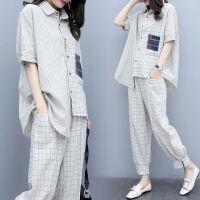 格子套装女2019夏季时尚休闲宽松大码九分裤时髦洋气两件套女 图片色(两件套)