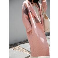 2018新款秋韩版格子双面羊绒大衣赫本风毛呢大衣女中长款羊毛外套