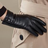 手套女秋冬 触屏保暖真皮手套女 皮包扣羊皮女士开车