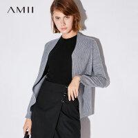 Amii极简纯色百搭V领毛衣外套女2018秋冬季新款羊毛混纺针织开衫