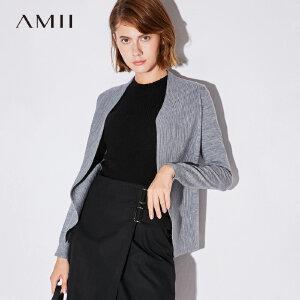 【到手价:122.9元】Amii极简慵懒风纯色百搭V领毛衣外套女2018秋冬新款混纺针织开衫