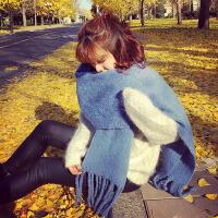 纯色流苏围巾女冬季韩版百搭加厚长款学生保暖毛线针织围脖秋冬天