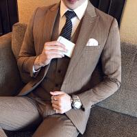 秋冬新款男士潮流韩版修身西服套装青年咖啡条纹免烫西装三件套