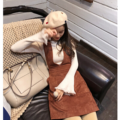 谜秀秋冬连衣裙女2017新款韩国修身麂皮绒背心裙短款裙子皮裙冬潮