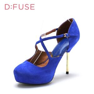 【3折到手价143.7元】迪芙斯D:FUSE羊皮防水台金属细高跟搭扣单鞋女鞋DF43110044