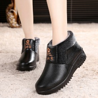 冬季老北京布鞋女棉鞋中老年短靴棉靴防水加绒保暖防滑厚底妈妈鞋