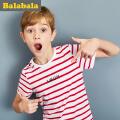 巴拉巴拉童装男童短袖T恤中大童儿童春夏2018新款圆领条纹体恤男