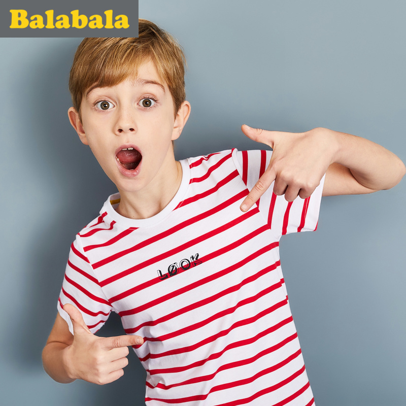 巴拉男童t恤短袖中大童半袖上衣2017夏装新款童装儿童打底衫男潮