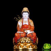 汉白玉镶金观音佛像 石雕彩绘观音菩萨 客厅供奉娑婆三圣佛像摆件