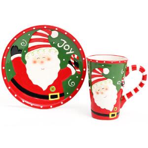 爱屋格林Evergreen美式手绘圣诞老人陶瓷浮雕杯盘礼盒套装圣诞杯