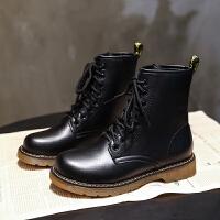 马丁靴女2019夏季英伦风新款透气系带短靴平底骑士靴圆头复古单靴 黑色