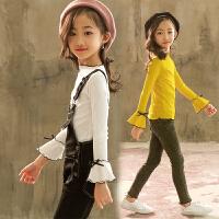 女童毛衣初秋儿童打底衫女宝宝紧身喇叭袖套头衫