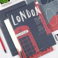 初品/英伦之都 创意复古笔记本车线本软面抄文具记事日记本子 B5