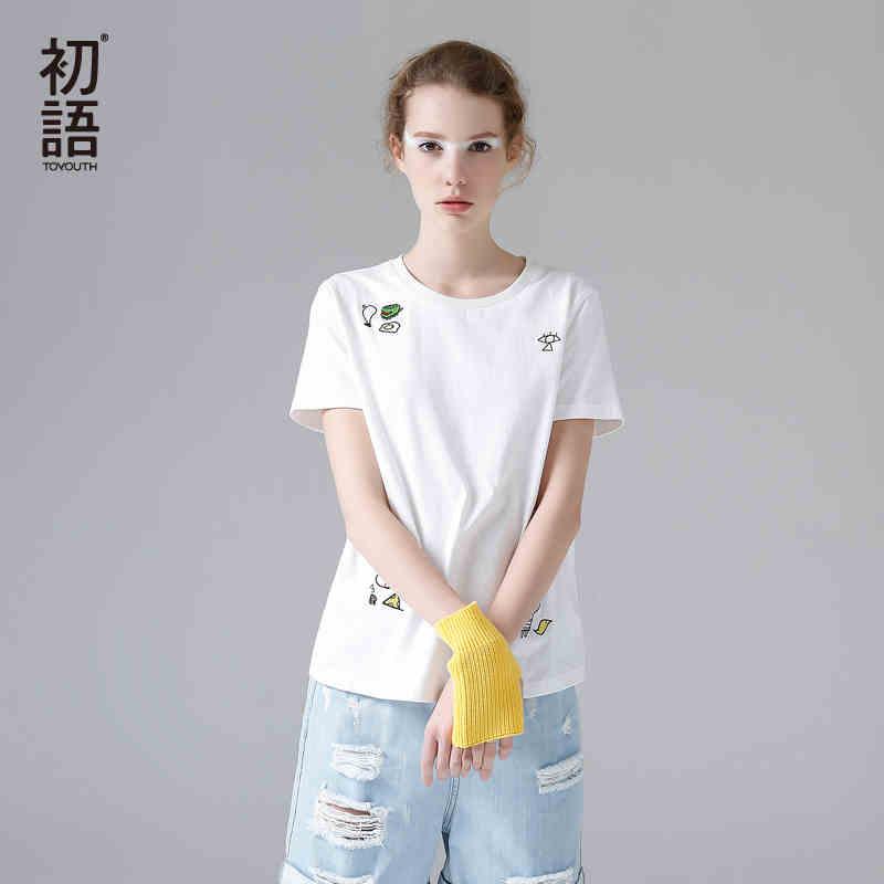 初语2017夏装新款 纯棉圆领卡通刺绣短袖T恤女宽松大码休闲打底衫