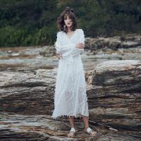 原创沙滩裙海边度假气质显瘦2018新款女装春装V领白色羽毛流苏连衣裙GH032 白色