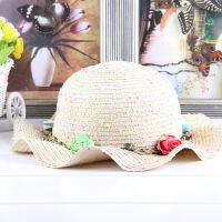 夏天儿童草帽女童防晒遮阳帽户外出游沙滩帽子公主帽小女孩太阳帽 儿童款推荐头围(47-52CM)