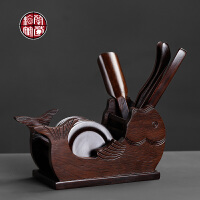 茶道六君子6件整套装功夫茶具配件家用茶匙茶勺茶托杯垫泡茶工具
