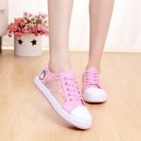 休闲鞋女运动鞋夏季韩版低帮鞋网钞透气帆布鞋镂空休闲鞋中学生平跟帆布鞋