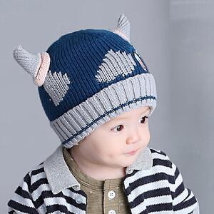 货到付款 Yinbeler婴儿帽子宝宝毛线帽加绒加厚双层胎帽套头帽冬天新生儿帽子针织帽童帽奶牛角帽 蓝色