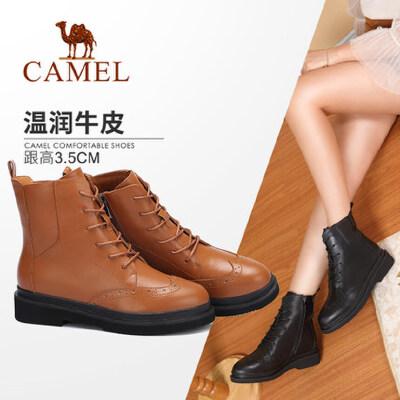 【领卷下单立减120元】Camel/骆驼女鞋 秋冬新款 时尚英伦保暖短靴女 方跟马丁靴子
