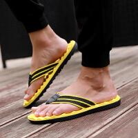 夏季时尚人字拖鞋 男拖鞋黑色托轻便防滑夹趾厚底沙滩鞋潮夹脚拖个性 按摩粒纯 黄