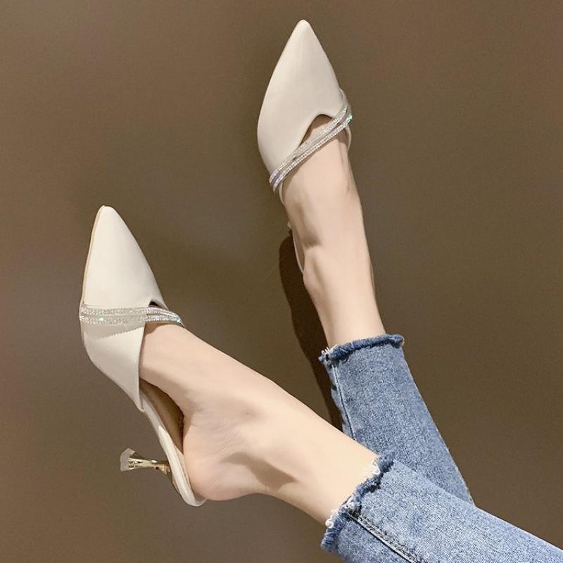 包头半拖鞋女时尚外穿2019新款夏尖头水钻细跟高跟凉拖ins穆勒鞋