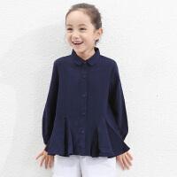 amii童装2017秋装新品女童长袖衬衫百搭中大童儿童圆领衬衣寸衫