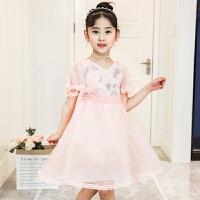 童装连衣裙夏装2018新款韩版女童公主裙女宝宝儿童洋气裙子 粉红色 赠送运费险