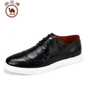 骆驼牌男鞋 夏季新品男士 布洛克日常休闲皮鞋系带透气鞋子