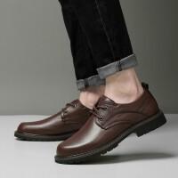男皮鞋男士休闲皮鞋新品新款增高鞋英伦风牛皮真皮鞋