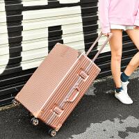 复古旅行箱万向轮24寸学生箱女铝框拉杆箱26行李箱男密码登机皮箱