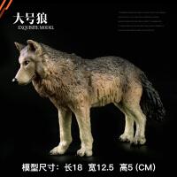 野生动物世界套装灰狼 咆哮狼 狼狗儿童仿真实心动物园玩具模型