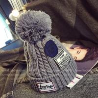韩国时尚加厚三贴布球球毛线帽韩版潮男女士秋冬保暖针织帽子套头 可调节