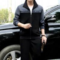 男士运动套装男中年开衫运动服中老年运动装大码健身
