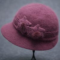 中老年人保暖毛线帽秋冬天老太太老人帽子女冬季奶奶中年妈妈棉帽