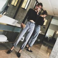 chic风牛仔裤女秋装2018新款韩版宽松显瘦高腰老爹裤子加绒直筒裤