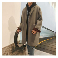 秋冬季新款韩版宽松中长款毛呢大衣男港风情侣装外套学生帅气风衣