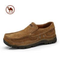 骆驼牌男鞋 春季新款日常户外大休闲鞋磨砂牛皮套脚休闲低帮男鞋