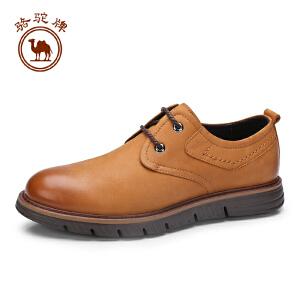 骆驼牌男鞋 新品简约休闲系带真皮男鞋舒适柔软低帮男鞋