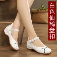 古风鞋子女汉服鞋学生复古中国风古装老北京布鞋女绣花鞋坡跟汉鞋