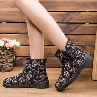冬季棉鞋2019新款加绒保暖女鞋高腰防滑耐磨民族风雪地靴传统棉靴